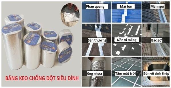 Băng keo chống thấm tại Đồ chống nước và những bề mặt có thể sử dụng