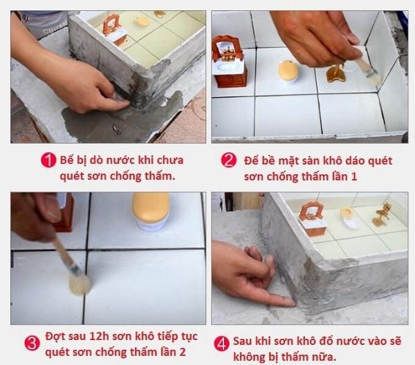 Sử dụng chổi quét sơn chống thấm khắc phục sự cố thấm nước
